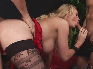 Blonde mom hard fucked by two guys and made to swallow