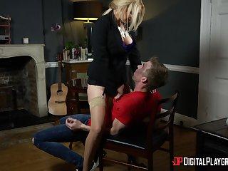 Blonde pornstar Amber Jayne in stockings fucked by her lover
