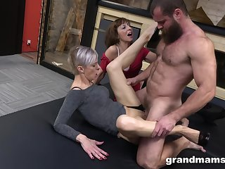 Kinky threesome between a handsome man with an increment of several adult sluts