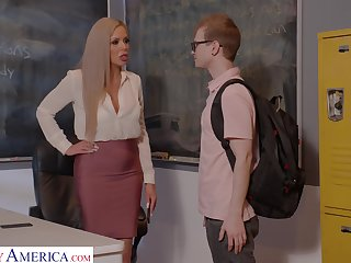 Horny nerdy MILFie tutor Nina Elle fucks copiously with will not hear of student primarily the desk