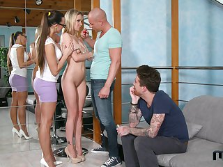Mia Melone coupled with Angel Piaff are fucked coupled with jizzed by several studs