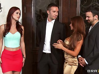 Foursome fucking on slay rub elbows with divan with wives Karlie Montana with the addition of Madison Ivy