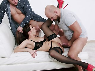Bitch relating to sexy lingerie, rough couch threesome