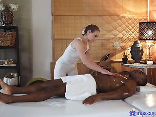 Lady Bug cannot help but fuck her black male rub down client