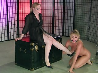 Tow-haired babes enjoy having oddball lesbian sexual intercourse with torture. HD