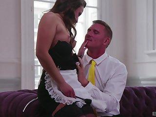 Erotic fucking beyond everything the sofa nearby irresistible maid Amirah Adara