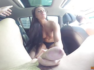 Crave haired brunette Athina sucks a cock in a automobile and swallows cum