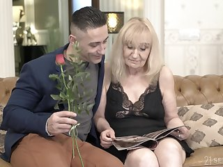 Blonde of age granny Nanney gets creampied away from a younger guy