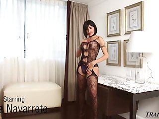 Sultry big breasted ladyboy Taiira Navarrete wanks her own strong cock